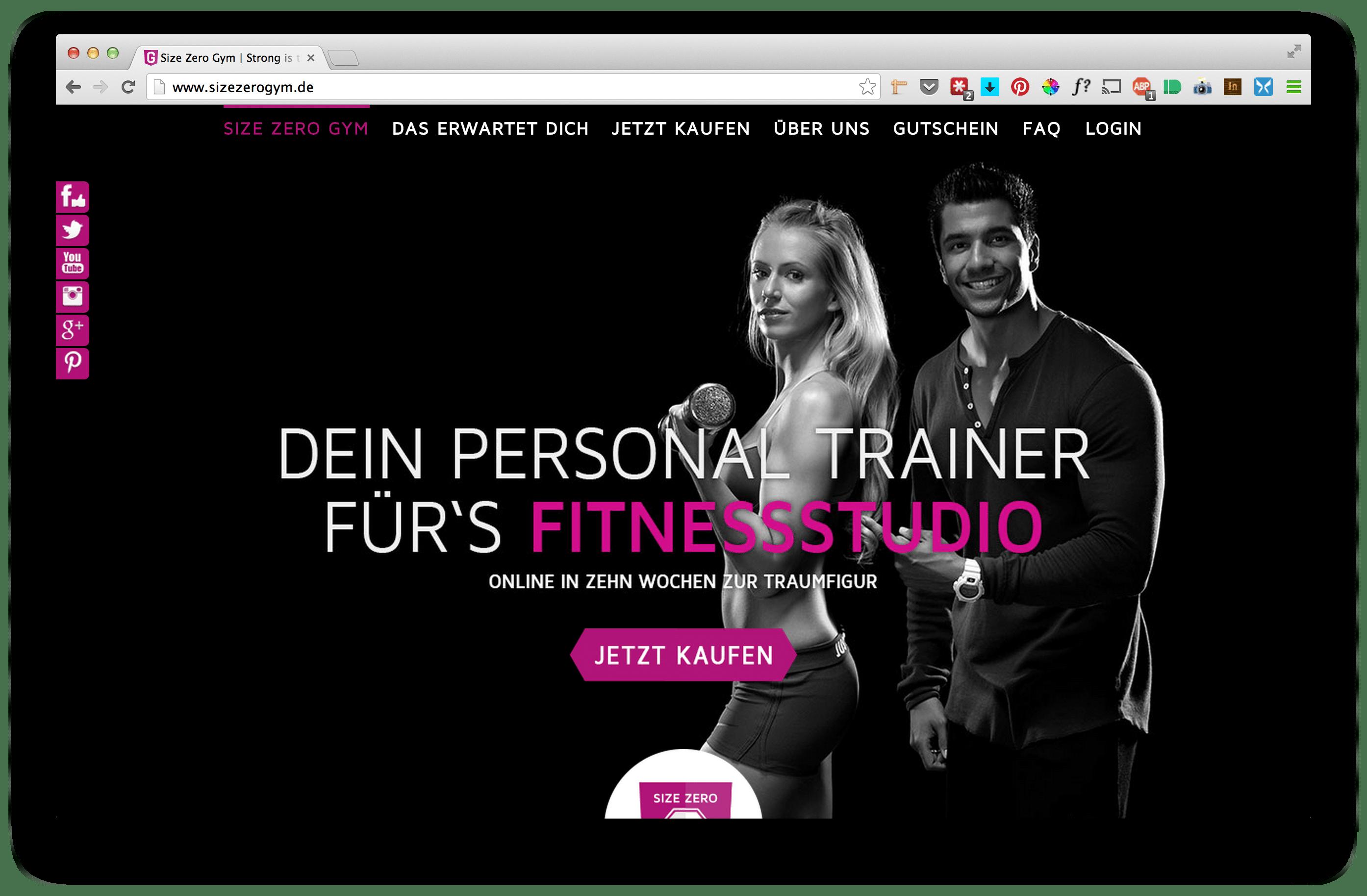 Size Zero Gym - Webdesign